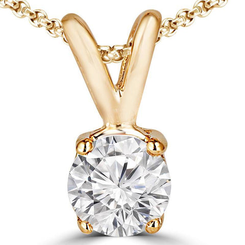 Diamond solitaire pendants jewelmore 34 carats solitaire diamond pendant with chain ghsi1 si2 14k yellow aloadofball Image collections