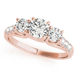 14k Three-Stone Engagement Ring White Yellow or Rose Gold (0.50 carat, I-J Color, I2-I3 Clarity), Engagement, Ring, JewelMORE.com  - JewelMORE.com