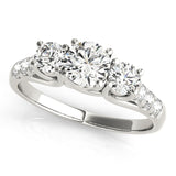 14k White Gold Three-Stone Engagement Ring 0.50 carat, I-J Color, I2-I3 Clarity, Engagement, Ring, JewelMORE.com  - JewelMORE.com