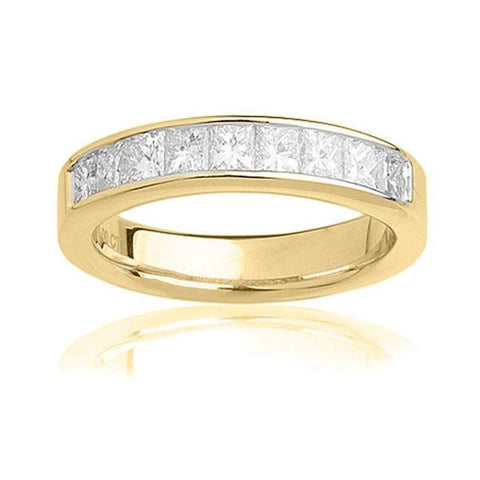 1/2 CT. T.W. Princess-Cut Diamond Wedding Band in 14K White Gold, RINGS, JewelMORE.com  - JewelMORE.com