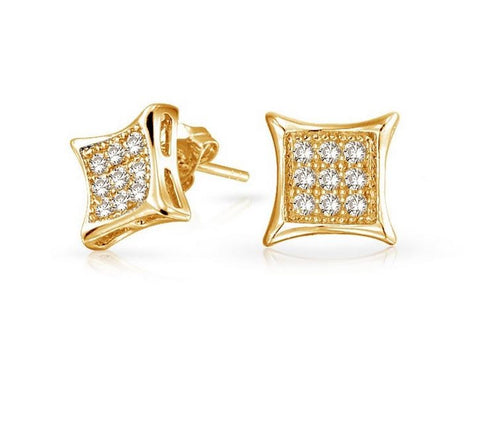 Diamond Accent Ladies Micro-pave Set Earrings 14K White Gold or Yellow Gold, EARRINGS, JewelMORE.com  - JewelMORE.com