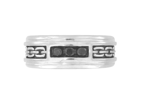 SilveRado™ for Mens 1/4 Carat T.W. Black Diamond Sterling Silver Textured Band Ring for Men, SALE, JewelMORE.com  - JewelMORE.com