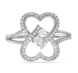 "I Love Us™  3/4ct.tw Two Stone Heart to Heart Bond Together Diamond Ring (G-H / I1-I2) ""My Best Friend is My True Love®"" - White G-H in 14K Gold, , JewelMORE.com  - JewelMORE.com"