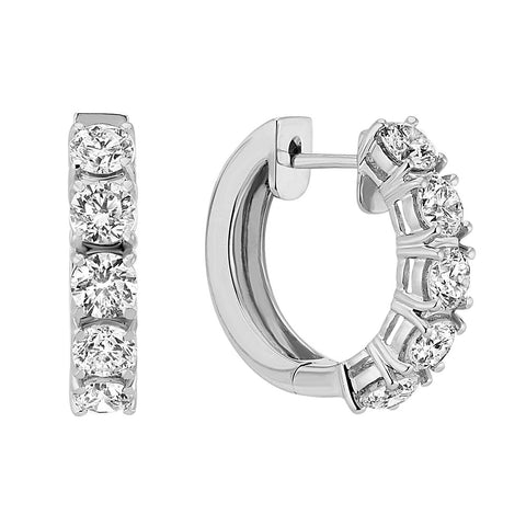 1/4-1carat (ctw) 14K Gold Real Round Cut White Diamond Ladies Huggies Hoop Earrings, EARRINGS, JewelMORE.com  - JewelMORE.com