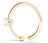 JewelMore 0.01ct Diamond Nose Ring Hoop - 14K White Gold or Yellow Gold, Nose Ring, JewelMORE.com  - JewelMORE.com