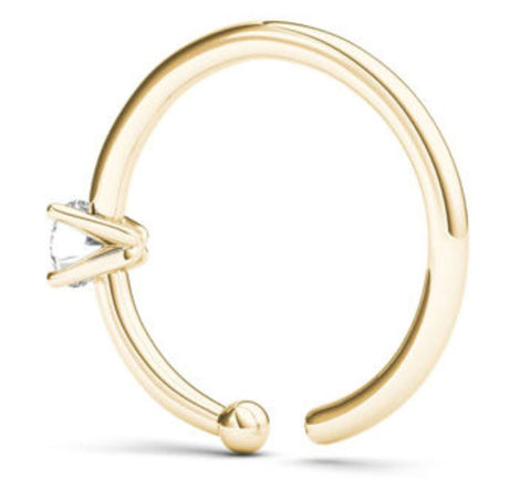 Jewelmore 001ct Diamond Nose Ring Hoop 14k White Gold Or Yellow