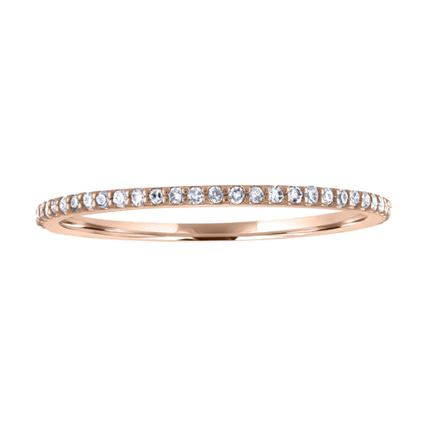 JewelMore 1/10 cttw 14k Gold Dainty Half Band Natural Diamond Wedding, RINGS, JewelMORE.com  - JewelMORE.com