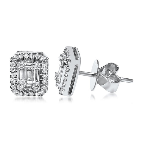Aura™ 18K White Gold Halo Stud Earring 3/4cttw Round and Baguette (VS2-SI1), EARRINGS, JewelMORE.com  - JewelMORE.com