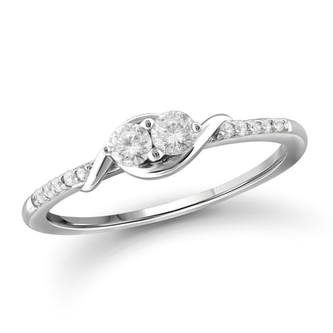 "I Love Us™ Two-Stone Ring 1/7ct tw Diamonds 14K White Gold or Yellow Gold  ""My Best friend is My true love™"", SALE, JewelMORE.com  - JewelMORE.com"