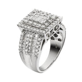 JewelMore 10k White Gold 2ct TDW Princess-cut Pave Diamond Ring (H-I, I2-I3), RINGS, JewelMORE.com  - JewelMORE.com