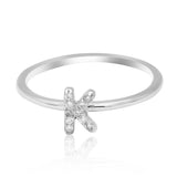 JewelMore Sterling Silver Diamond Accent stackable Initial Ring (petite), diamond ring, JewelMORE.com  - JewelMORE.com