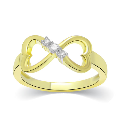 ewelMore Infinity Heart 1/10ct 3 stone Anniversary Band Rings in 10K Yellow Gold, SALE, JewelMORE.com  - JewelMORE.com