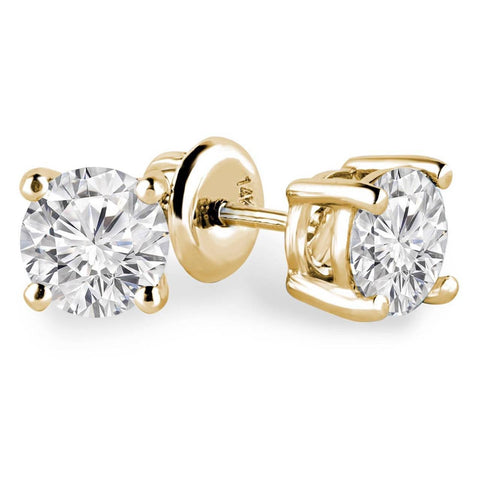 3/4 Carats Total Weight Solitaire Diamond Earrings GH/I1-I2 14K Yellow Gold & White Gold, EARRINGS, JewelMORE.com  - JewelMORE.com