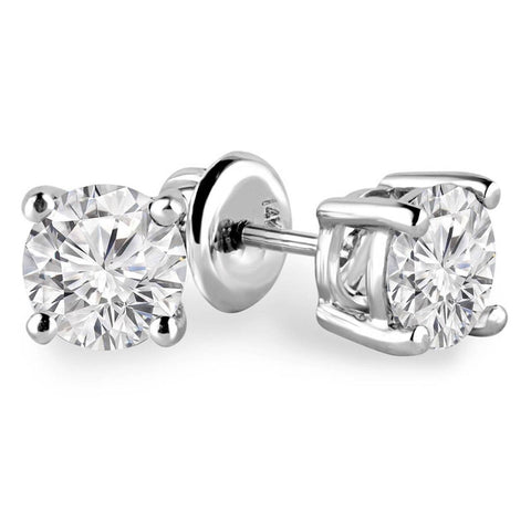 1/3 Carats Total Weight Solitaire Diamond Earrings GH/SI1-SI2 14K White Gold, Studs, JewelMORE.com  - JewelMORE.com