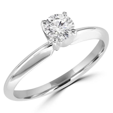 1/2 Carats Solitaire Diamond Engagement Ring GH/I1-I2 14K Yellow Gold & White Gold, Engagement, JewelMORE.com  - JewelMORE.com