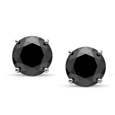 carat t silver round black stud w ip earrings diamond sterling