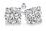 1/4 Carats Total Weight Solitaire Diamond Earrings GH/I2-I3 14K White Gold, EARRINGS, JewelMORE.com  - JewelMORE.com