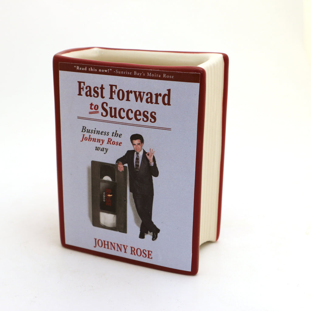 Schitt's Creek pencil holder, book vase, Johnny Rose book, Fast Forward to Success