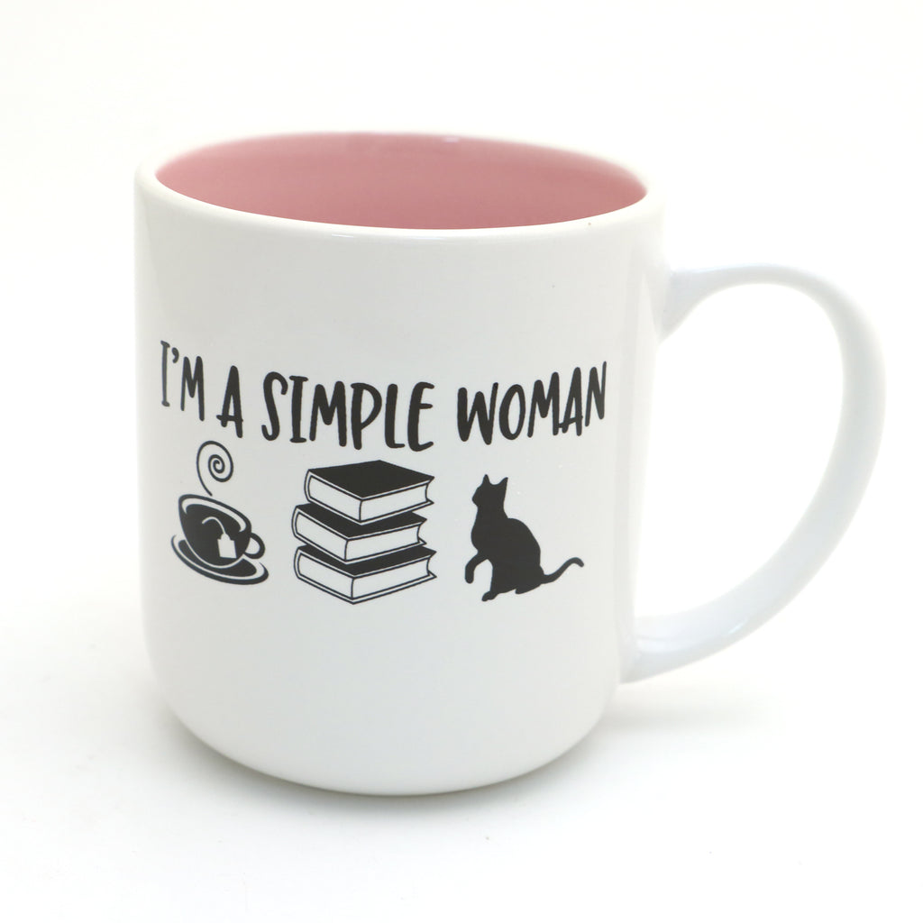 Books cats tea, I'm a simple woman mug