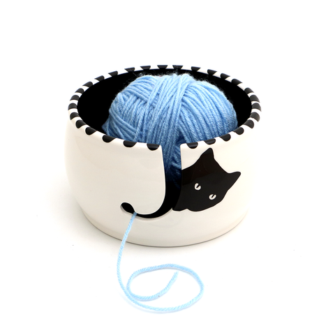 Black Cat Knitting Yarn Bowl
