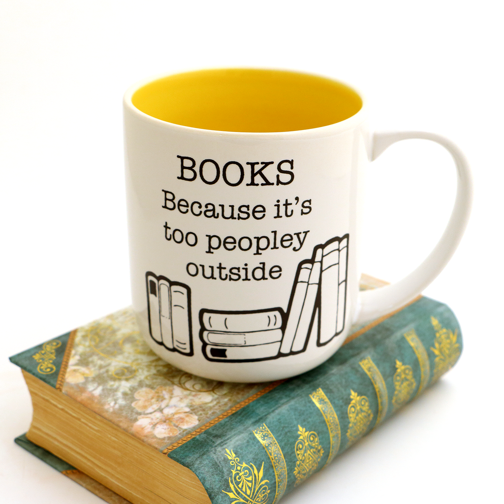 Books mug, gift for introverted reader, Too Peopley outside