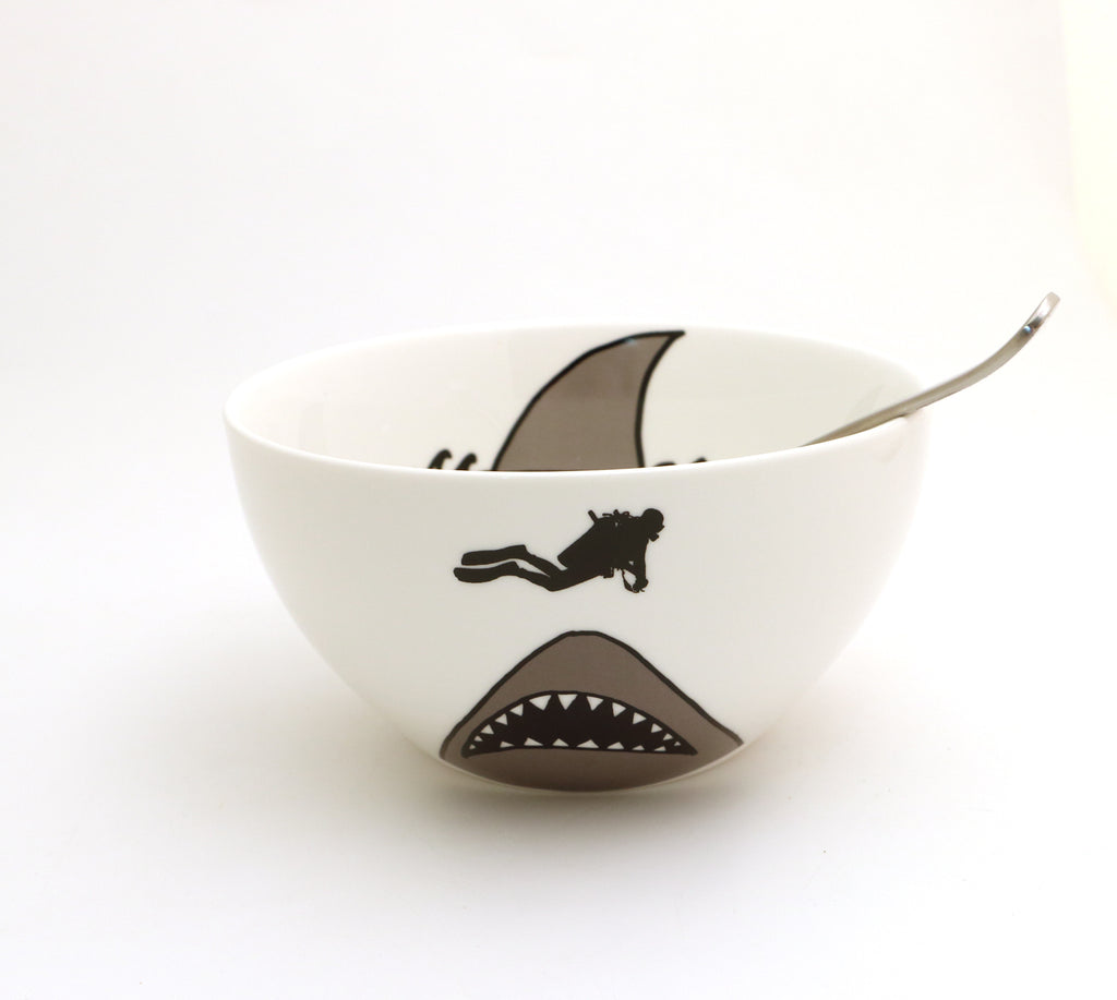 Porcelain shark bowl, shark and scuba diver, shark cereal bowl