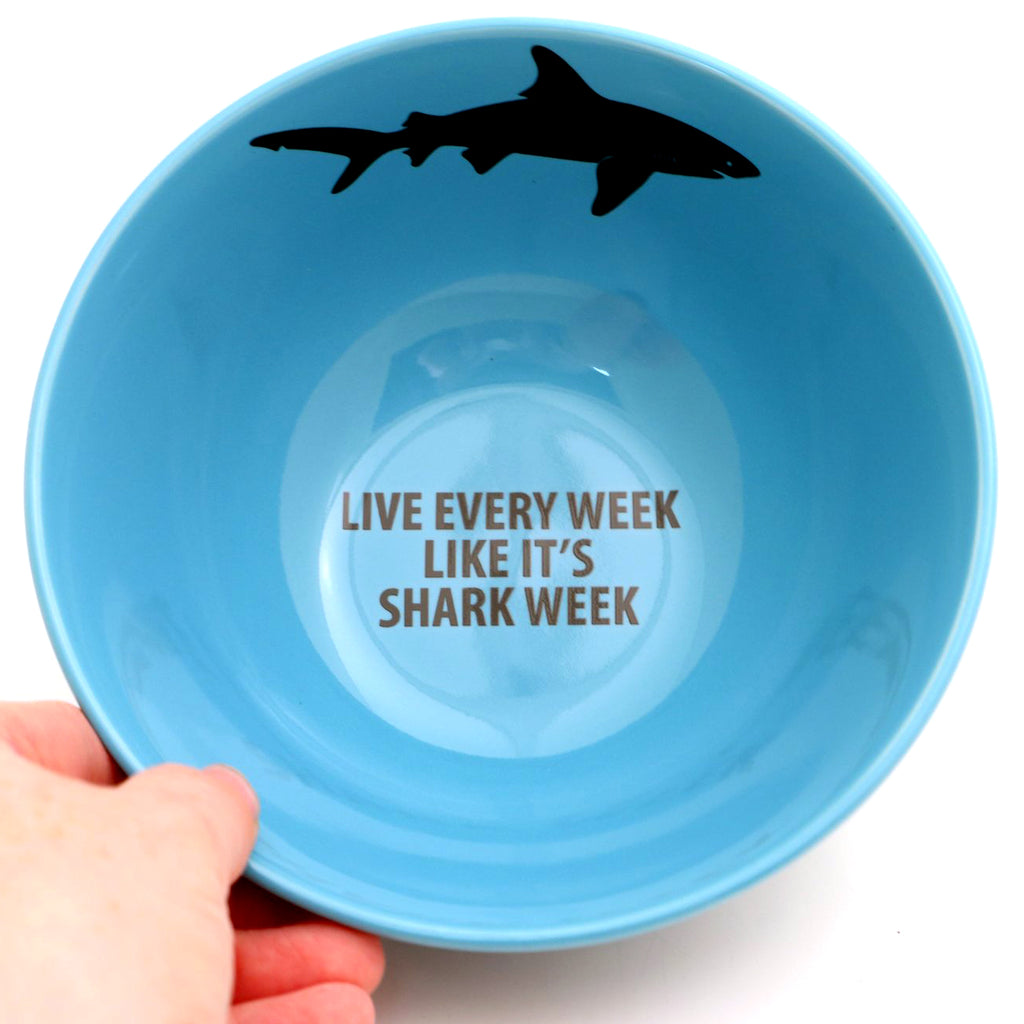 Shark cereal bowl, live every week like it's shark week, blue cereal bowl