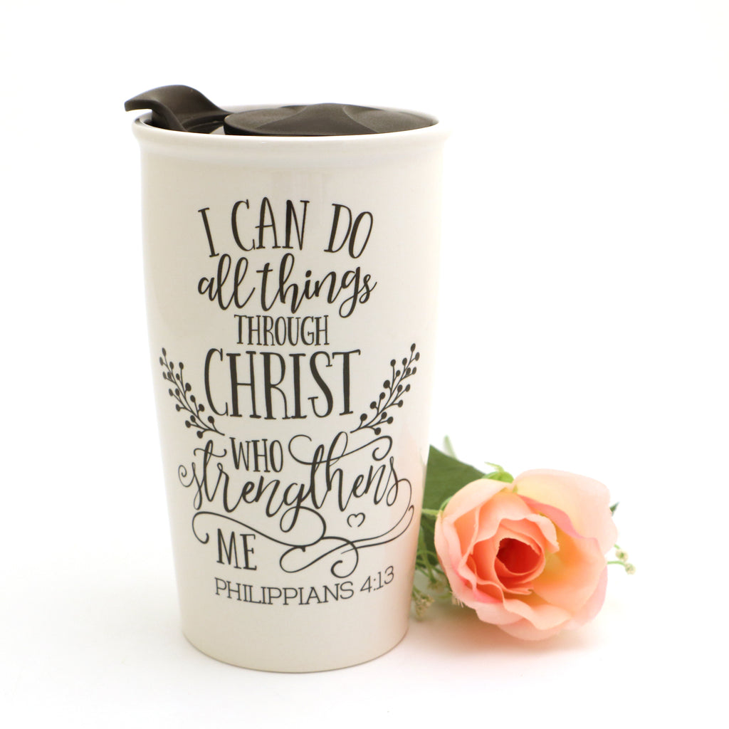 I Can Do All Things Through Christ Travel Mug, Philippians Mug