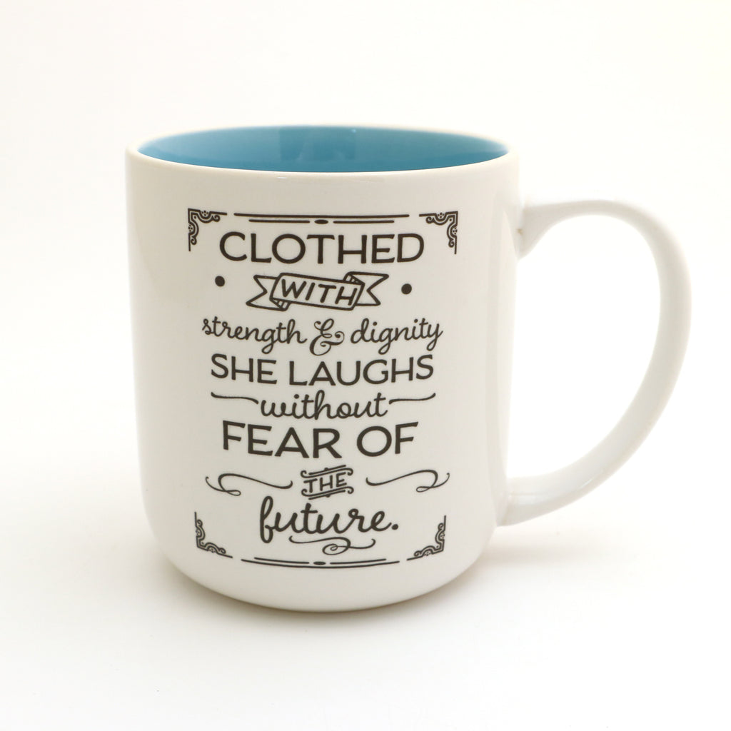 She is clothed in strength and dignity mug, Proverbs 31:25, can be personalized