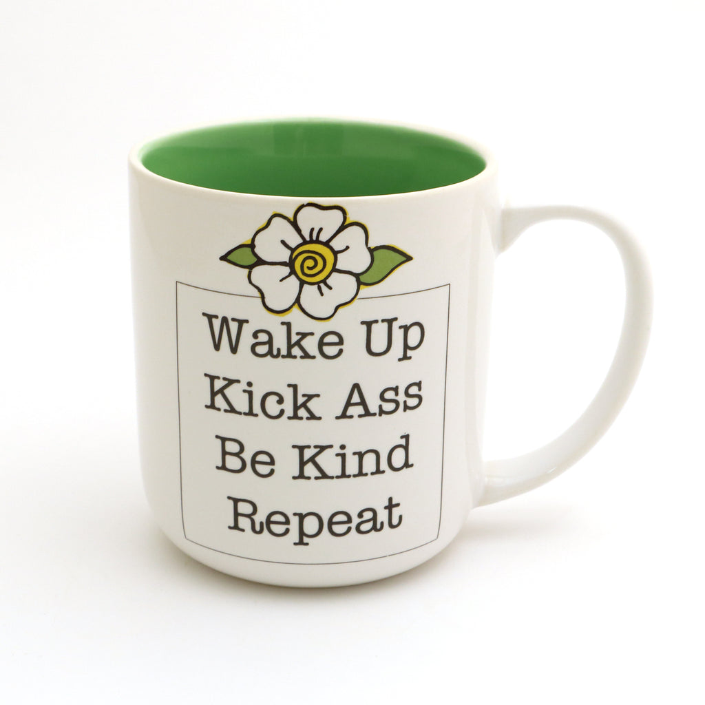 Wake up kick ass mug