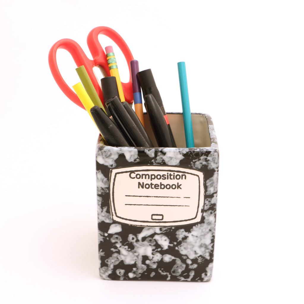 Composition Note Book Pencil Holder, Square Shaped - Can Be Personalized