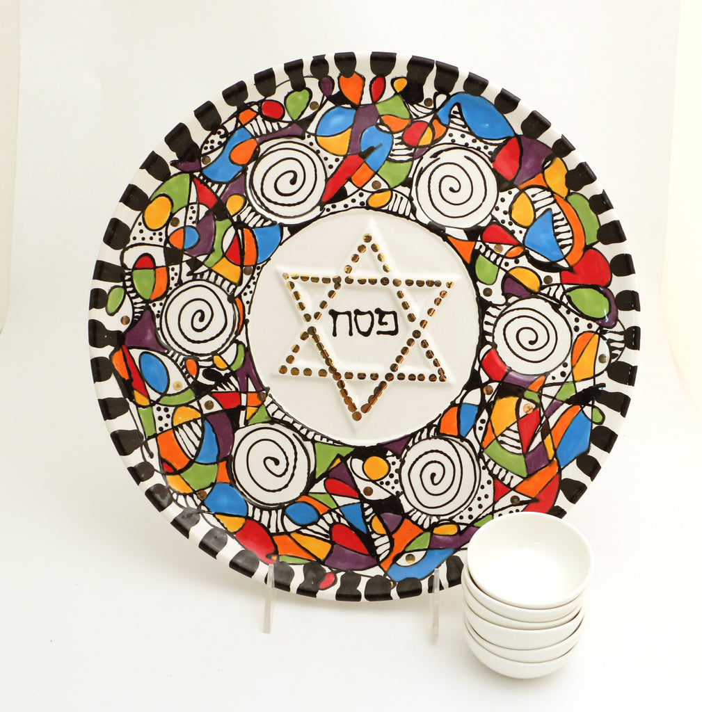 Seder Plate With Gold, Modern Colorful Design, Dishes Included