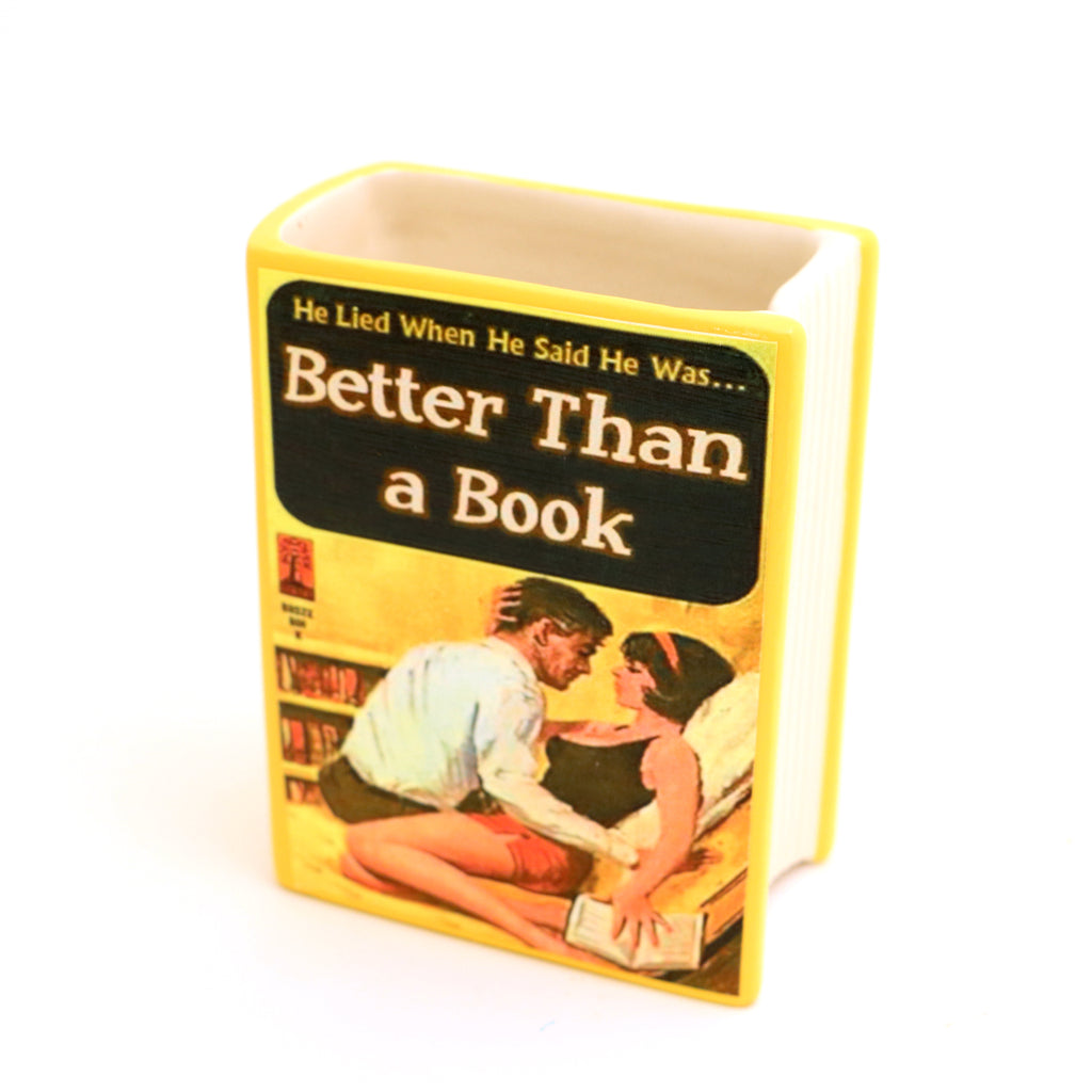 Better than a Book, snarky pencil holder, funny gift for reader, book vase