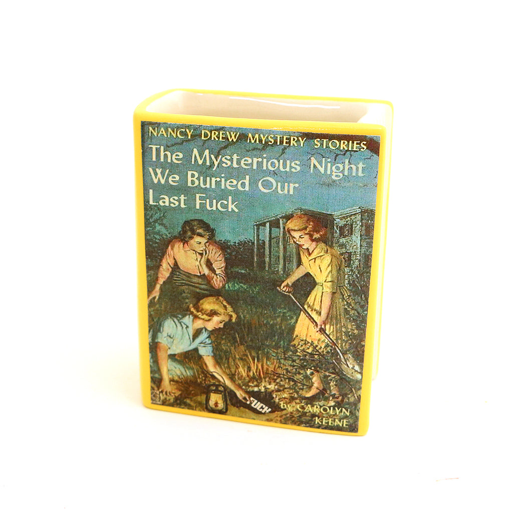 Nancy Drew book parody, book shaped pencil holder or vase, mature language