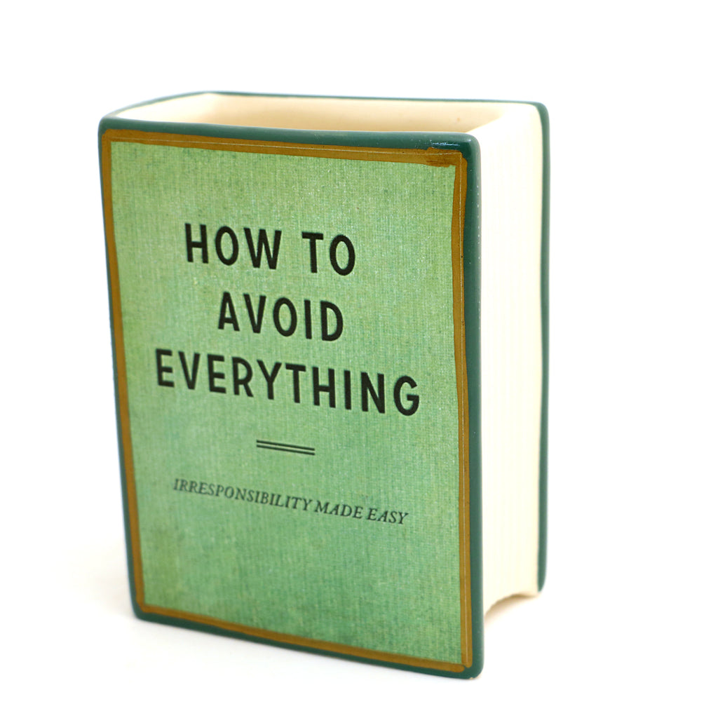 How to Avoid Everything book shaped pencil holder, vase, funny gift
