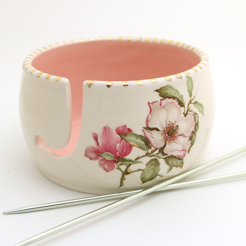 Pink Magnolias with 22K Metallic gold accents yarn bowl