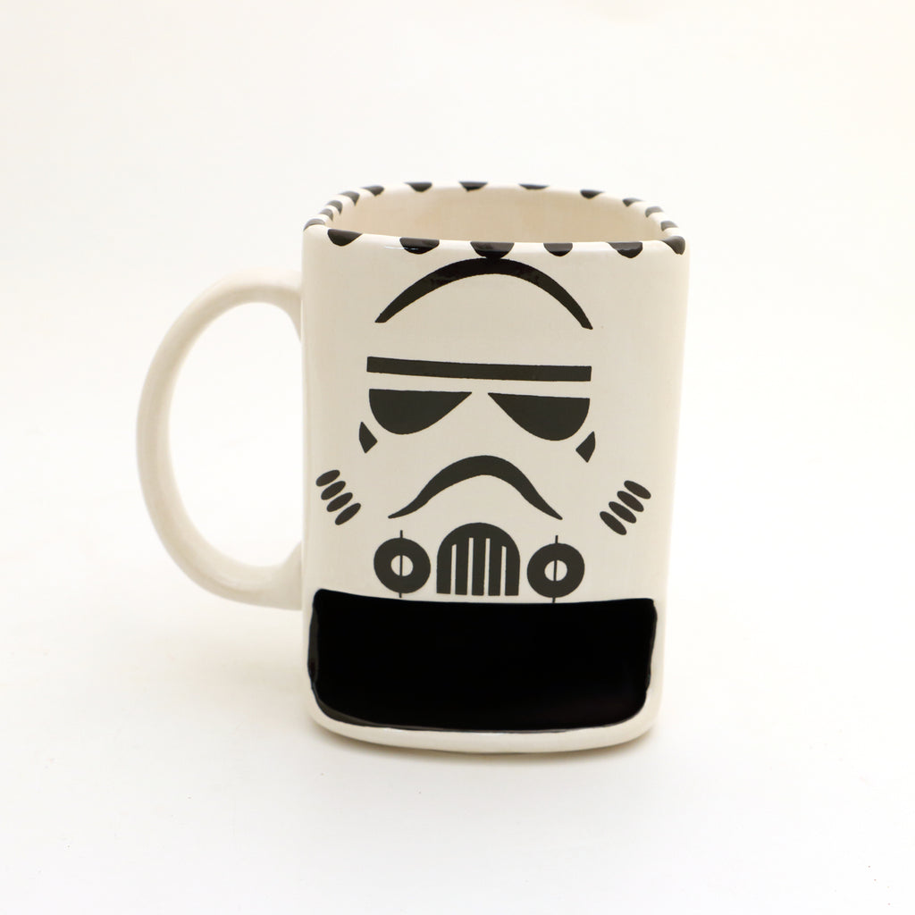 Storm Trooper cookie mug, Star Wars parody, Cookie dunk mug