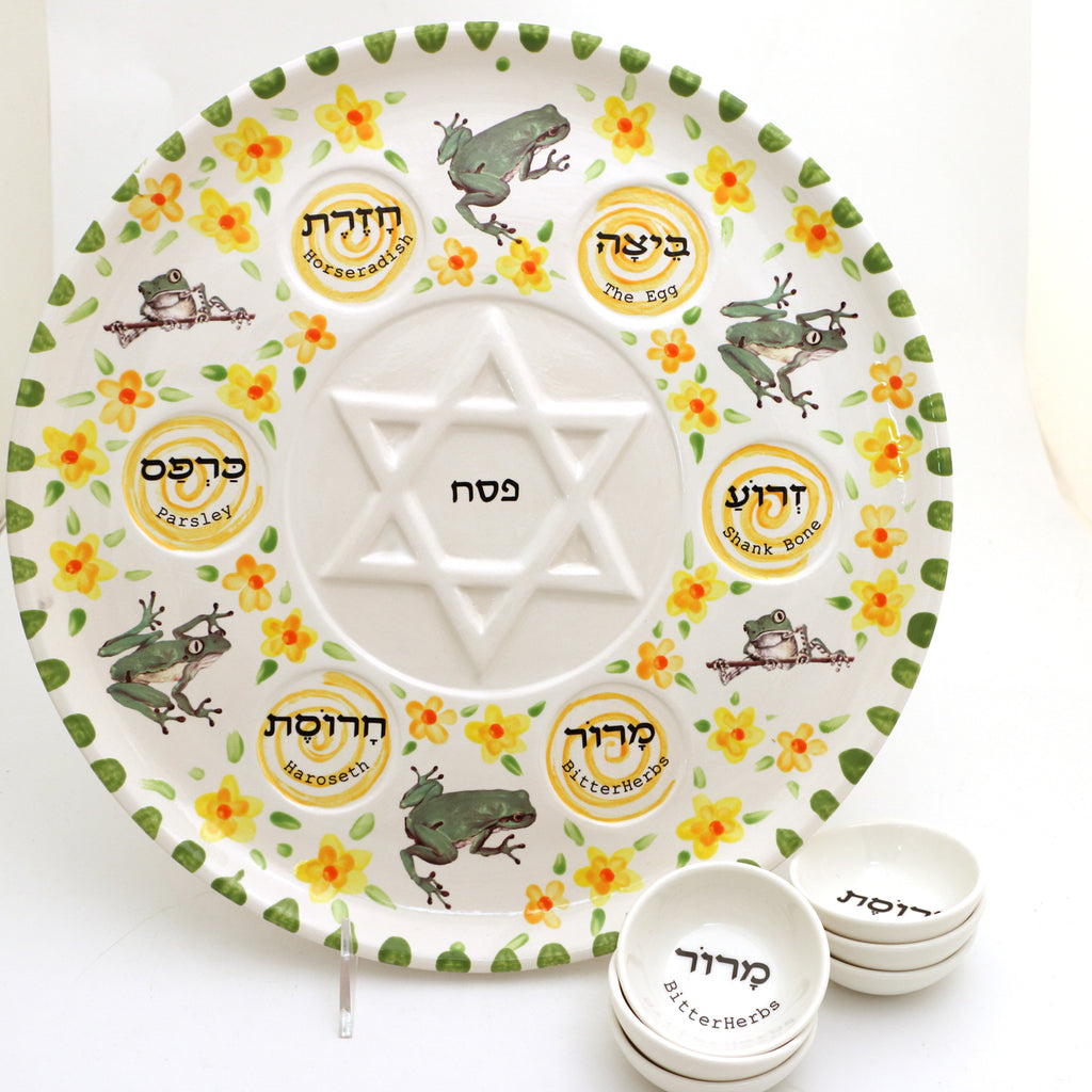 Seder plate with yellow flowers and frogs, six dishes included