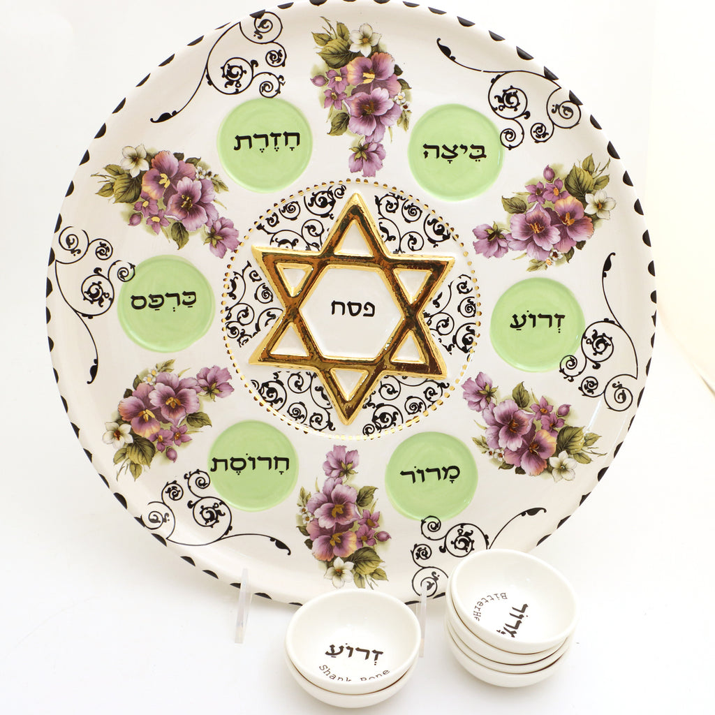 Seder plate and dishes with violets and 22K Gold accents