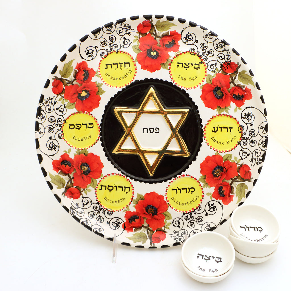 Seder plate and dishes with poppies and 22K Gold accents