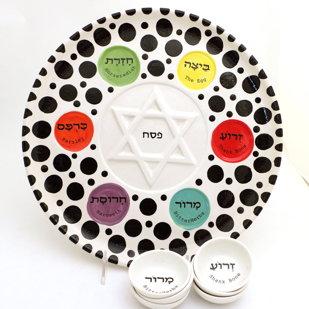 Seder plate and dishes with polka dots and multi colored wells, Passover, Judaica