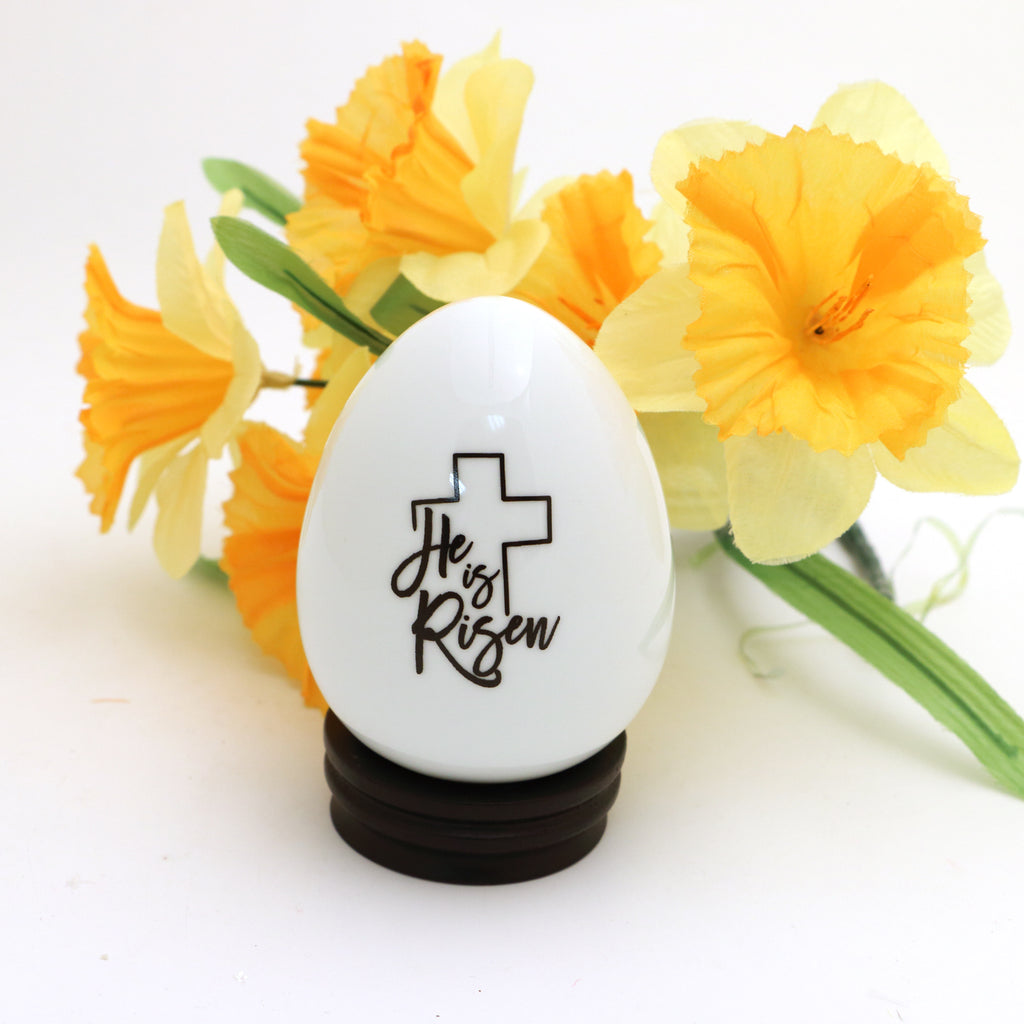 Porcelain egg with stand, Large Easter Egg, He is Risen