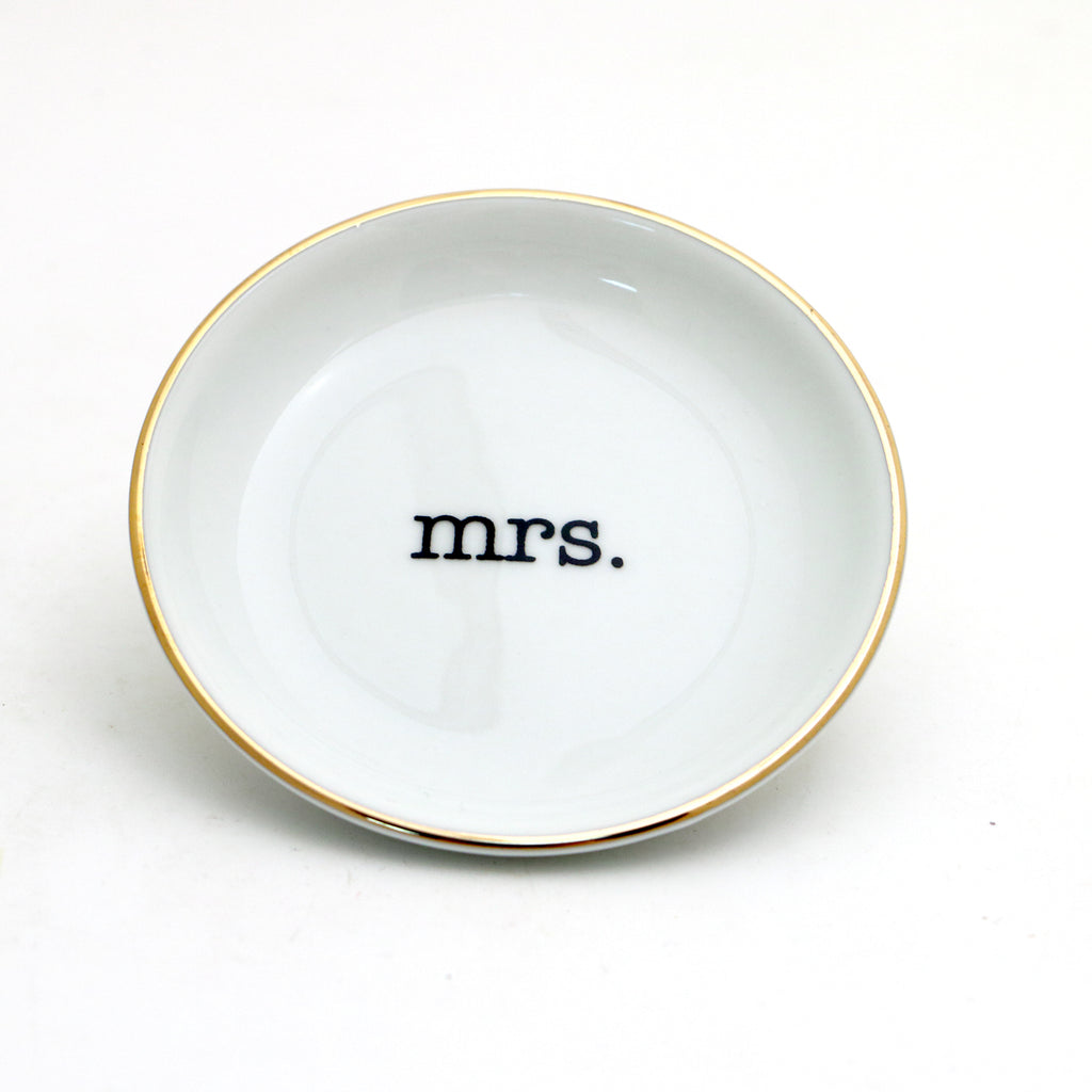 Mrs. Ring Dish with 22k Gold Accents, Bridal shower or engagement gift