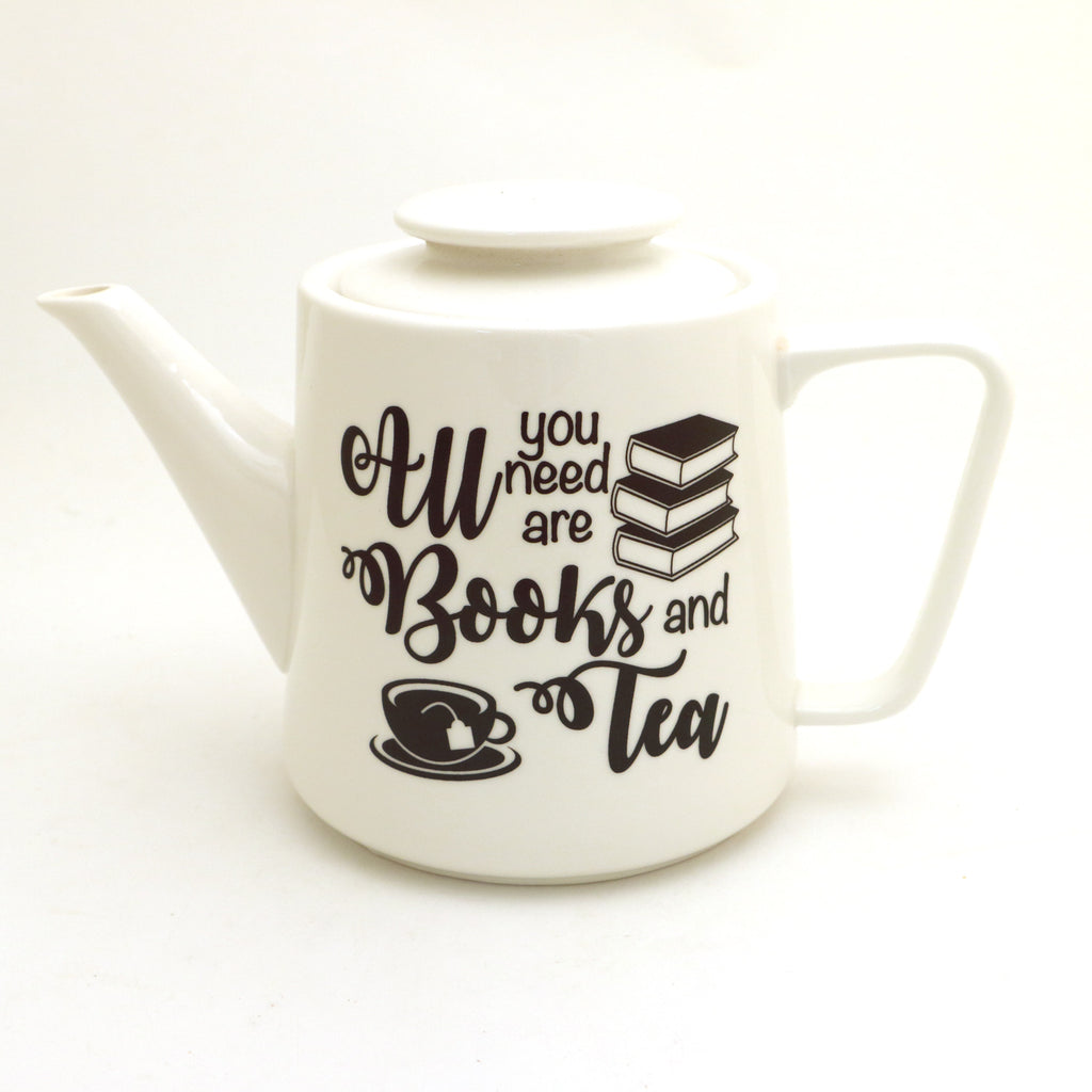 Books and Tea teapot, porcelain teapot, gift for reader and tea drinker