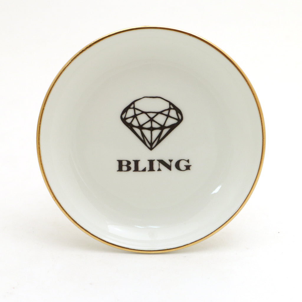 Bling Ring Dish, ringholder with 22K Gold accent