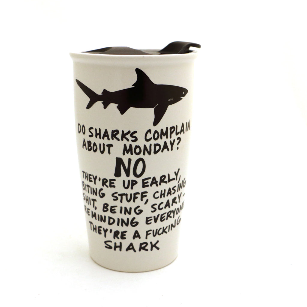 Mature Shark Travel Mug, Eco friendly, Ceramic mug with lid, Large travel mug