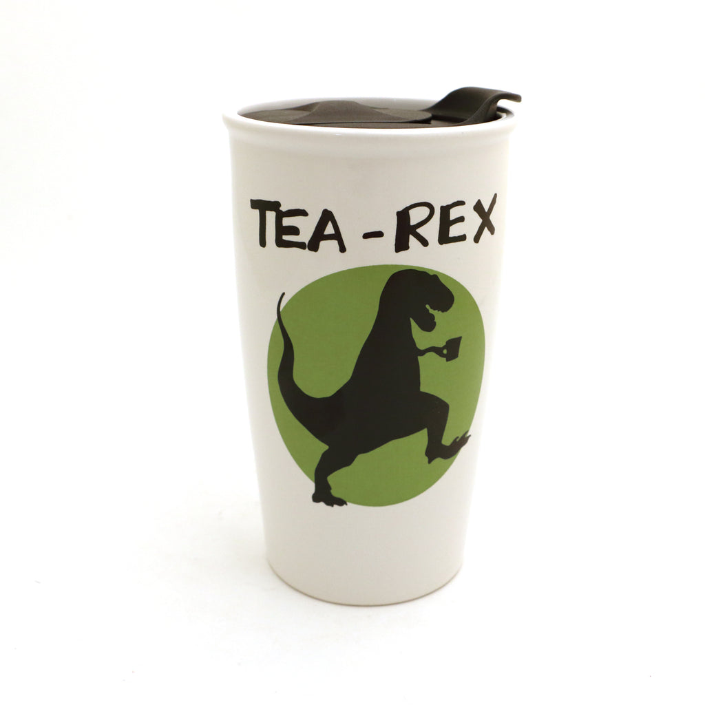Tea Rex Travel Mug, eco friendly, ceramic travel mug, gift for tea drinker