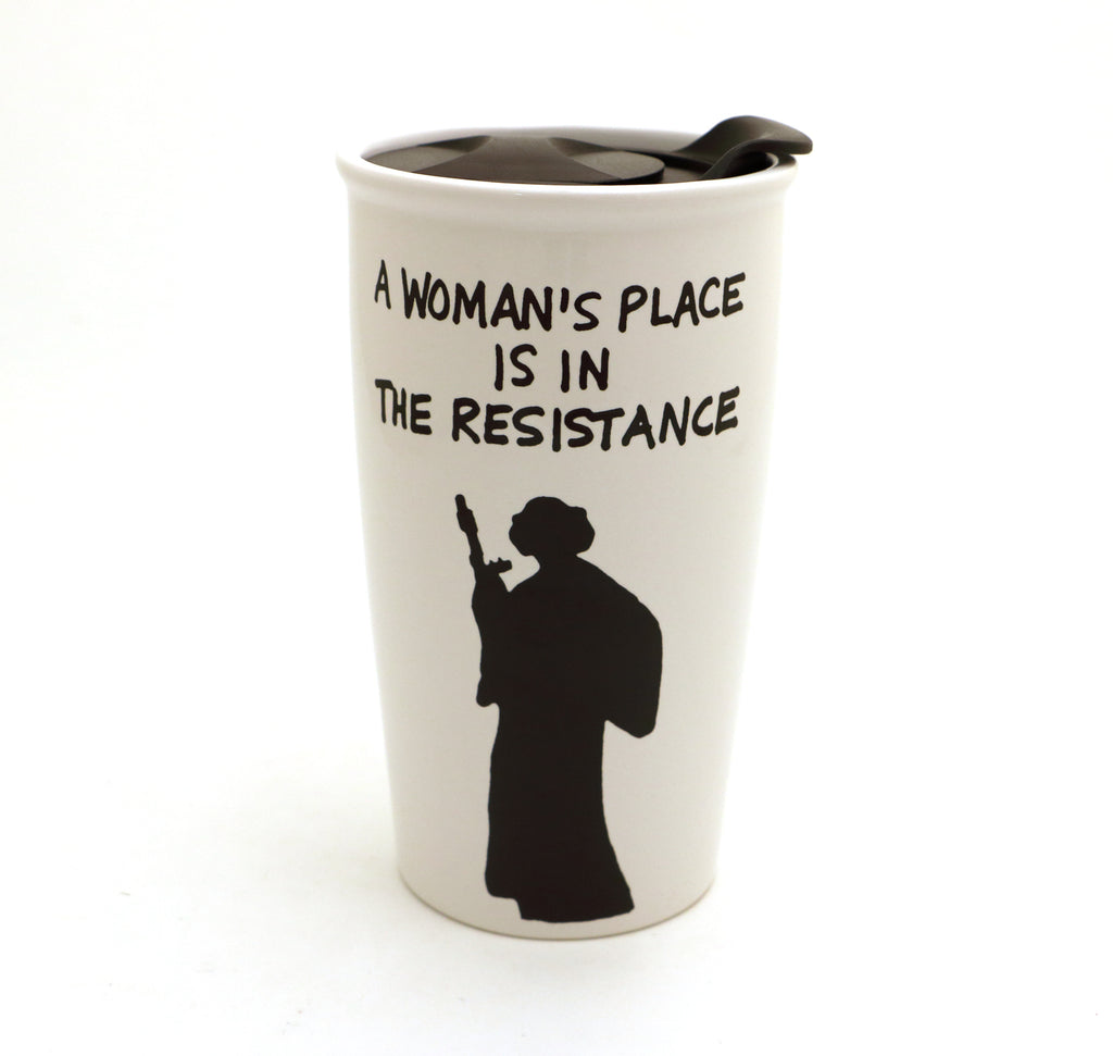 Princess Leia Travel Mug, A woman's place is in the resistance, Star Wars fan art