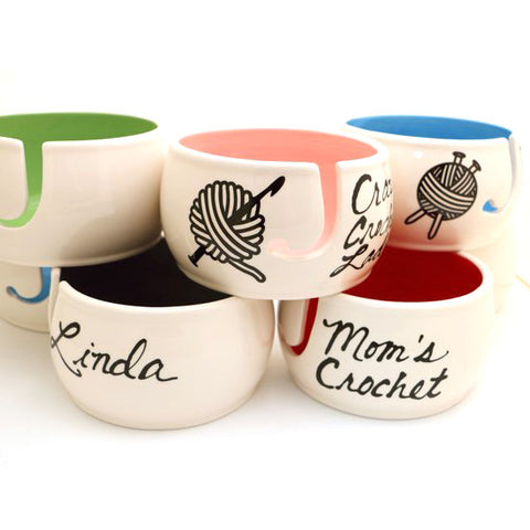 Personalized Yarn Bowl - Add Script, Choice of Color, and Knitting or Crocheting Icon