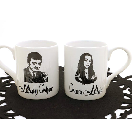 One mug features Morticia, the character portrayed by Carolyn Jones in the 1964 television show an